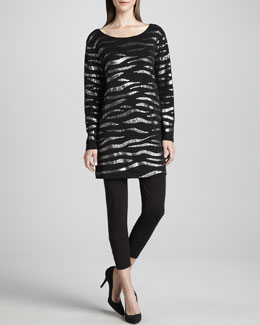 Joan Vass Animal Sequined Tunic & Cropped Leggings, Women's