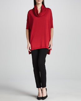 Joan Vass Cowl-Neck Tunic & Seamed Leggings