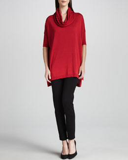 Joan Vass Cowl-Neck Tunic & Seamed Leggings, Petite