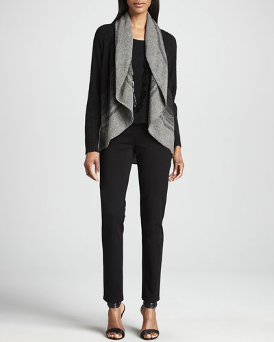 Eileen Fisher Ombre Striped Cardigan, Silk Jersey Tee & Straight-Leg Ponte Pants, Petite