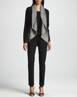 Eileen Fisher Ombre Striped Cardigan, Silk Jersey Tee & Straight-Leg Ponte Pants, Women's