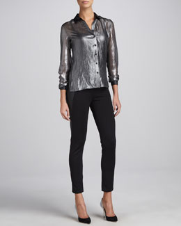 T Tahari Jordana Crinkled Blouse & Octavia Faux-Leather-Panel Pants