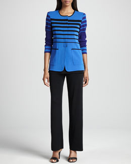 Misook Candy Jacket with Stripes, Tank & Carlotta Wide-Leg Pants