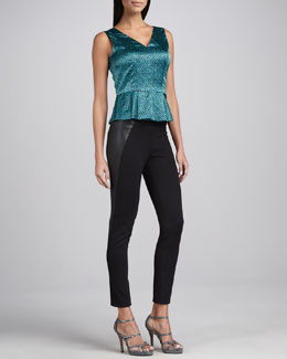 T Tahari Veruca Printed Peplum Blouse & Octavia Faux-Leather-Panel Pants