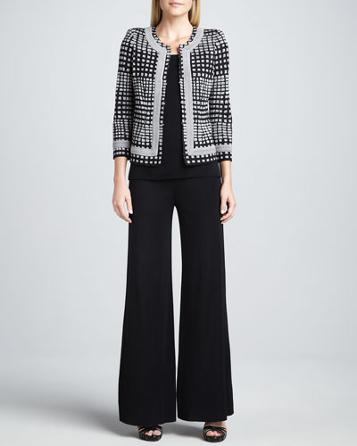 Misook Brenda Trimmed Jacket, Amy U-Neck Tank & Fit-and-Knit Palazzo Pants
