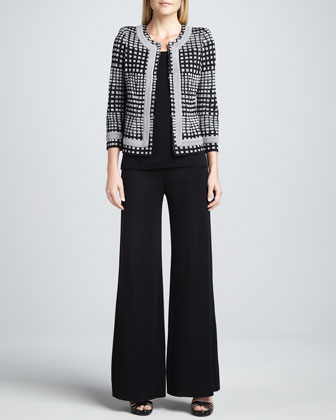 Brenda Trimmed Jacket, Amy U-Neck Tank & Fit-and-Knit Palazzo Pants
