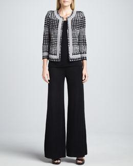 Misook Brenda Trimmed Jacket, Amy U-Neck Tank & Fit-and-Knit Palazzo Pants, Petite