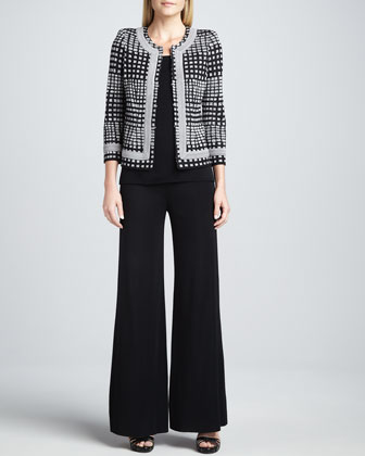 Brenda Trimmed Jacket, Amy U-Neck Tank & Fit-and-Knit Palazzo Pants, Women's