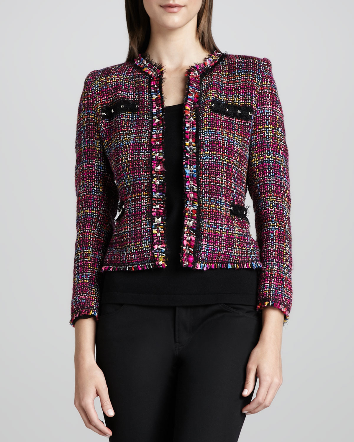 Multicolor Tweed Jacket & Knit Tank