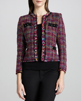 Michael Simon Multicolor Tweed Jacket & Knit Tank, Women's