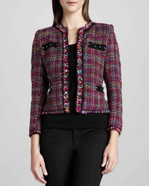 Multicolor Tweed Jacket & Knit Tank, Women's
