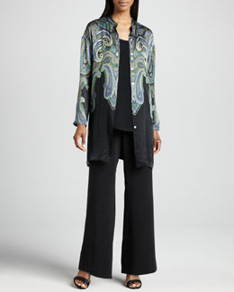 Go Silk Printed Silk Jacket, Longer Silk Tank & Full-Leg Silk Pants