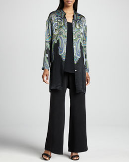 Go by Go Silk Printed Silk Jacket, Longer Silk Tank & Full-Leg Silk Pants, Women's
