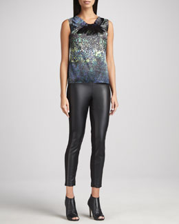 T Tahari Lavania Pleated-Neck Printed Blouse & Marlie Faux-Leather-Panel Pants