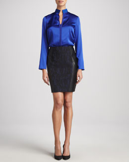 T Tahari Selena Long-Sleeve Blouse & Travern Jacquard Panel Skirt