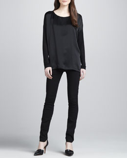 Vince Loose Mix-Fabric Top & Zip-Pocket Skinny Pants
