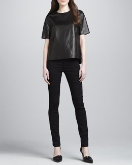 Vince Side-Slit Leather Tee & Zip-Pocket Skinny Pants
