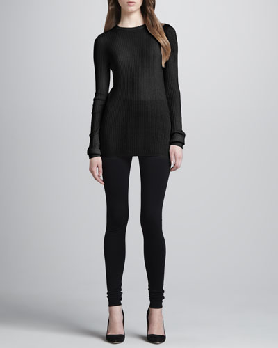 Ribbed-Knit Sweater & Scrunch-Ankle Ponte Leggings