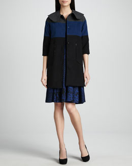 Melissa Masse Colorblock Coat & Jacquard Scoop-Neck Dress