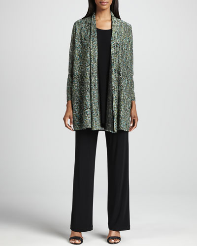 Caroline Rose Tweed Knit Cardigan, Long Knit Tunic/Tank & Stretch Knit Slim Pants, Women's