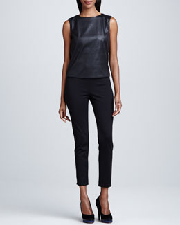T Tahari Linette Faux Leather Blouse & Ramana Cropped Jersey Pants