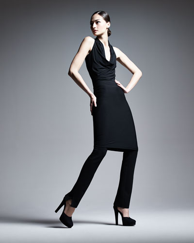 Donna Karan Draped Cowl-Neck Tunic & Structured Slim