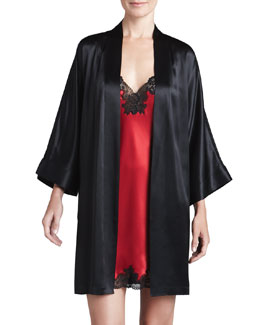 Neiman Marcus Silk Short Robe & Chemise, Red/Black