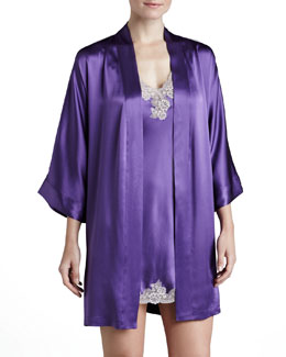 Neiman Marcus Silk Short Robe & Chemise, Violet/Shadow