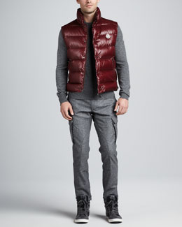 Moncler Tib Puffer Vest, Logo Heather Sweater & Tweed Cargo Pants