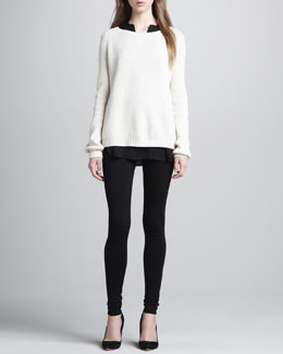 Vince Elbow-Patch Knit Sweater, Silk Cap-Sleeve Blouse & Scrunch-Ankle Ponte Leggings