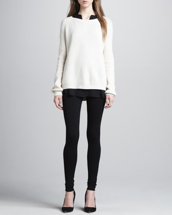 Elbow-Patch Knit Sweater, Silk Cap-Sleeve Blouse & Scrunch-Ankle Ponte Leggings