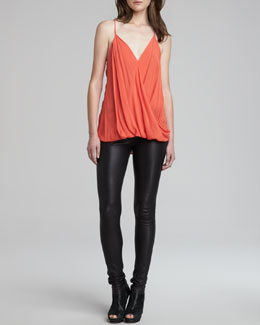 Helmut Lang Sleeveless V-Neck Blouson Tank & Stretch Plonge Leather Skinny Pants