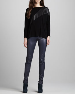 Alice + Olivia Slouchy Pullover & Leather Zip-Front Leggings