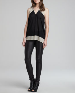 Helmut Lang Dropah Two-Tone Top & Stretch Plonge Leather Skinny Pants