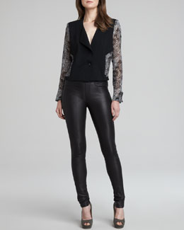 Helmut Lang Printed-Sleeve Crepe Jacket & Stretch Plonge Leather Skinny Pants