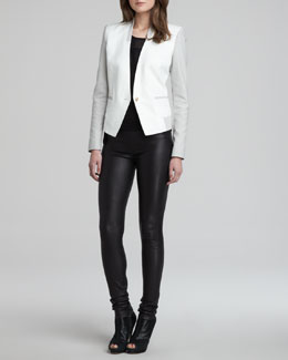 Helmut Lang Quarry Two-Tone Blazer, Sheer-Panel Cap-Sleeve Top & Stretch Plonge Leather Skinny Pants