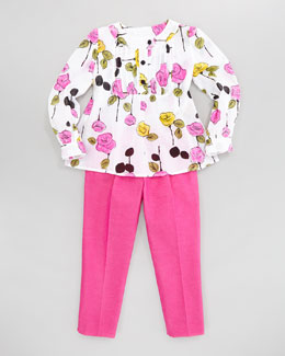 Milly Minis Floral-Print Pintuck Blouse and Sally Bow Stretch Pant