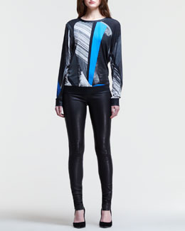 Helmut Lang Abstract-Print Sweatshirt & Stretch Leather Skinny Pants