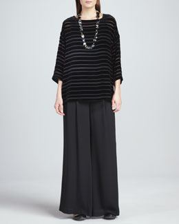 Eileen Fisher Striped Velvet Top & Silk Wide-Leg Pants