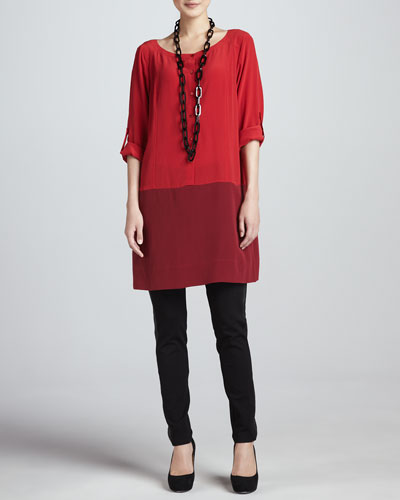 Eileen Fisher Silk Colorblock Tunic & Ponte Skinny Leather-Panel Pants