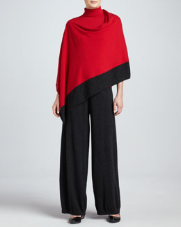 Joan Vass Silk-Cashmere Contrast-Trim Poncho, Turtleneck & Wide-Leg Pants