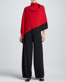 Joan Vass Silk-Cashmere Contrast-Trim Poncho, Turtleneck & Wide-Leg Pants, Women's