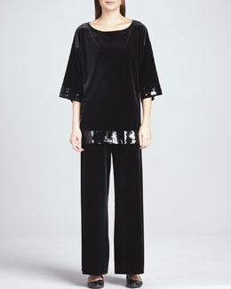 Joan Vass Velour Sequin-Trimmed Tunic & Velour Wide-Leg Pants