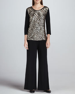 Caroline Rose Sequined Mix Easy Top & Wide-Leg Stretch Pants