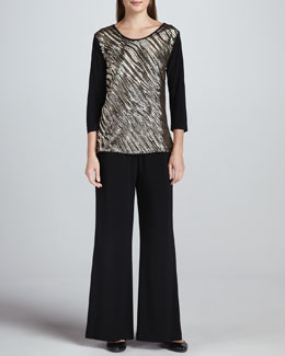Caroline Rose Sequined Mix Easy Top & Wide-Leg Stretch Pants, Petite