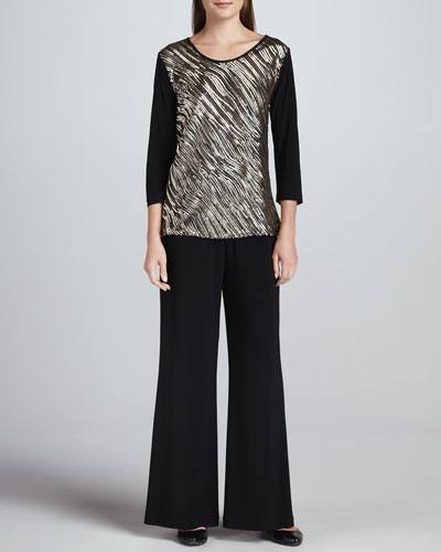 Caroline Rose Sequined Mix Easy Top & Wide-Leg Stretch Pants, Women's