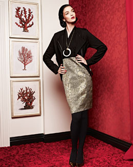 Isda & Co Zip-Front Moto Jacket & Tarnished Serpent Mixed-Media Dress
