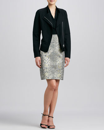 Zip-Front Moto Jacket & Tarnished Serpent Mixed-Media Dress