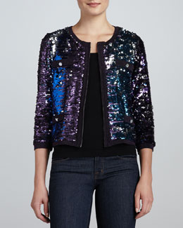 Michael Simon Allover Sequined Jacket & Scoop-Neck Knit Tank, Petite
