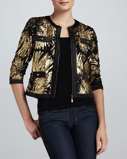 Michael Simon Gold-Ribbon Zip Jacket & Knit Tank